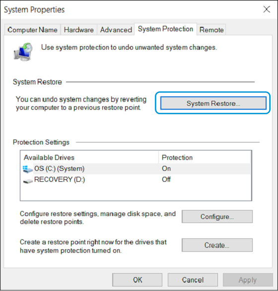 System Restore selection in the System Properties
