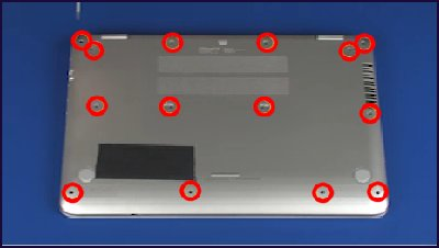 Fourteen screw locations that secure the top cover to the base enclosure