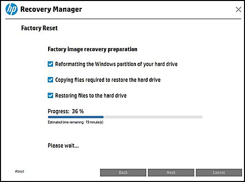 Factory image recovery preparation