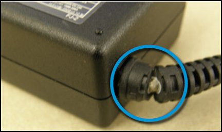 Damaged AC adapter cord