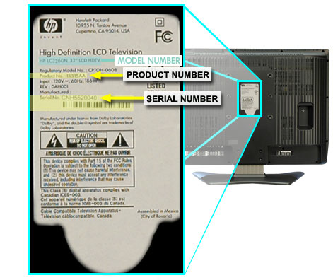 LC3260N product information label on the back center of TV.