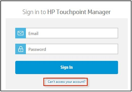 Sign in screen for HP Touchpoint Manager