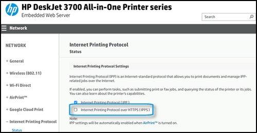 Internet Printing Protocol screen