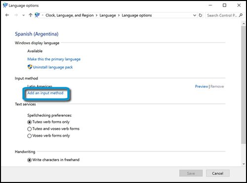 Language options with Add an input method highlighted