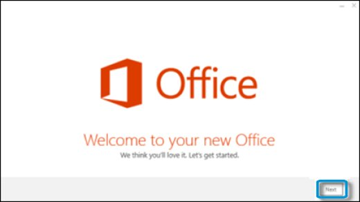 Office welcome screen