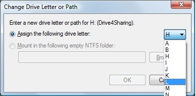 Image of selecting the new drive letter.