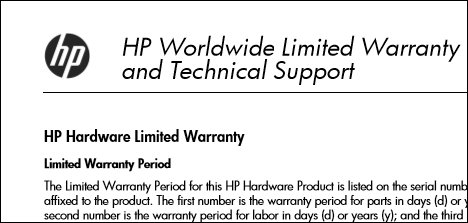 Image of an HP warranty PDF