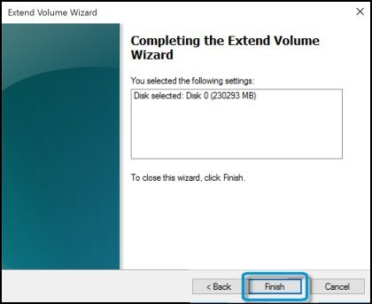 Completing the extend volume wizard