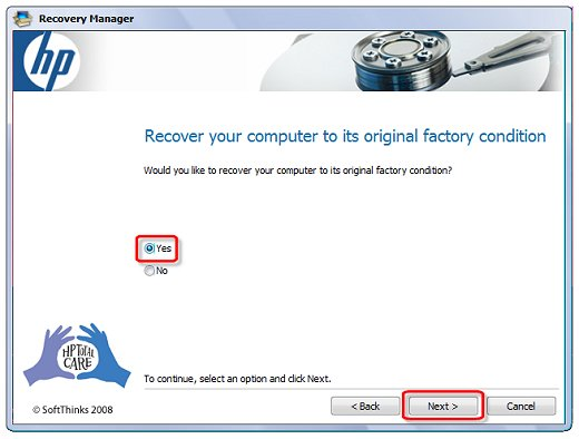 Image of Recover your computer screen indicating selections