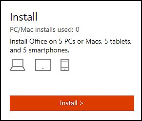 Click install to install the free trial of Office