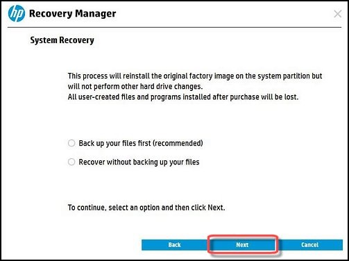 Back up your files or recover without backing up buttons