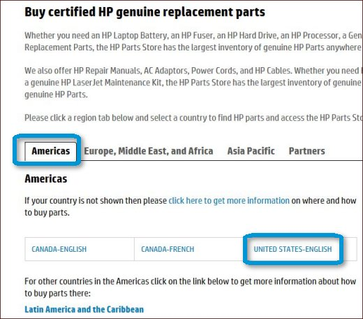Region and country selection at the HP Parts Store.