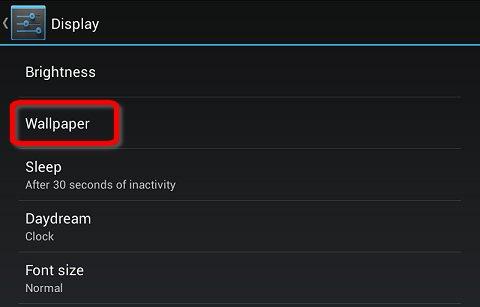 Wallpaper in the Display settings menu