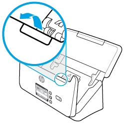 Pull forward on the latch to open the document feeder hatch.