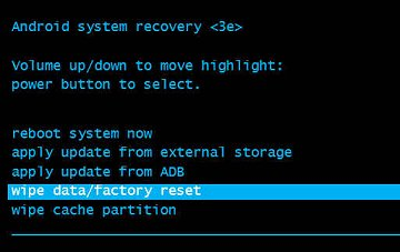 Wipe data/factory reset highlighted in Android system recovery menu