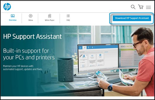 Página Web de HP Support Assistant con Descargar HP Support Assistant seleccionado