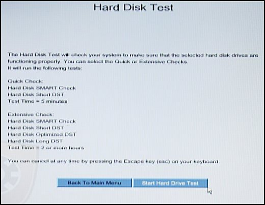 Hard Disk Test screen with Start Hard Drive Test selected