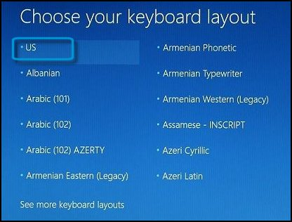 Keyboard layout selection screen