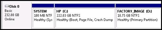 Uma unidade de disco de 250 GB com todo o espaço alocado