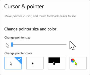 Mouse pointer size and color settings