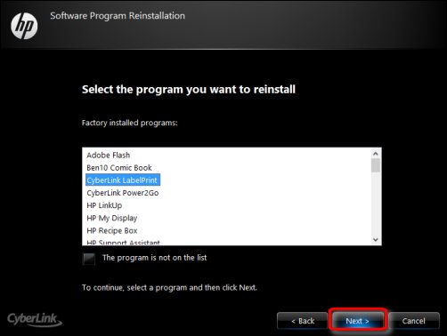 The Software Program Reinstallation window, with Next encircled in red