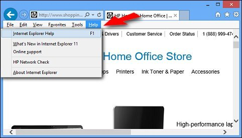 The Help menu in the Menu Bar of Internet Explorer (desktop version) being opened by pressing the ALT + H  keys