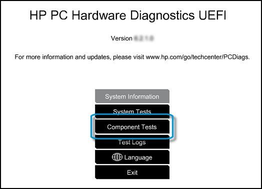 UEFI Main menu with Component Tests selected