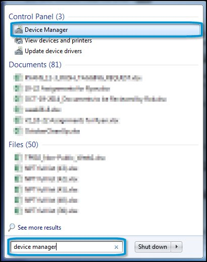 Device Manager search results with Device Manager selected