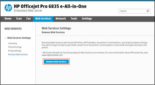Example of a clicking Remove Web Services.