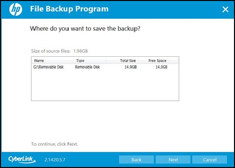 Selecting file backup location