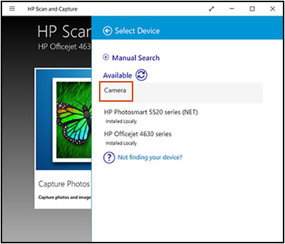 Example of the Select Device window with Camera selected