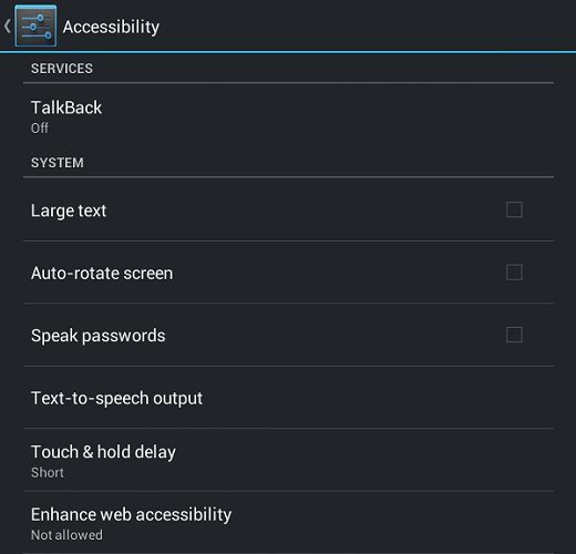 Menú de configuración de accesibilidad