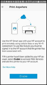 Tapping Enable on the Print Anywhere screen