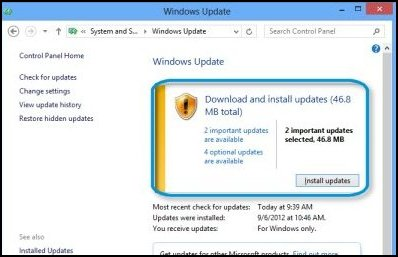 Summary of updates (Windows 8)
