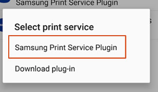 Tapping Samsung Print Service Plugin