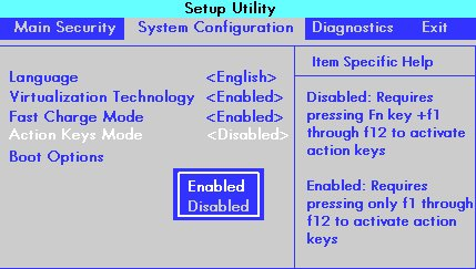 BIOS setup window with the System Configuration option and Action Keys Mode selected
