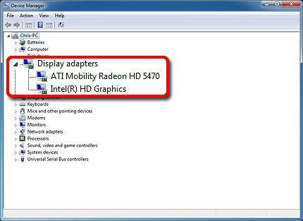 Device manager with Display adapters expanded