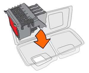 Illustration of placing the old parts into the package