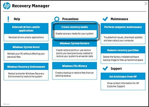 Recovery manager with Create recovery media selected