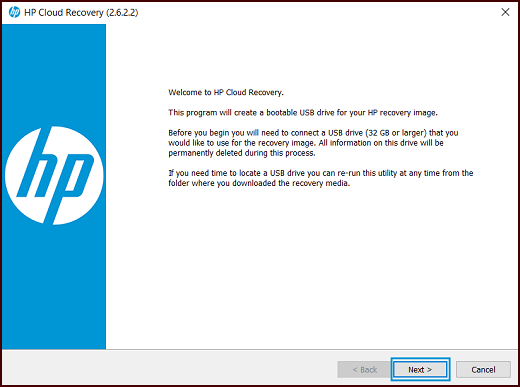 HP Cloud Recovery Download Tool Welcome screen with Next highlighted