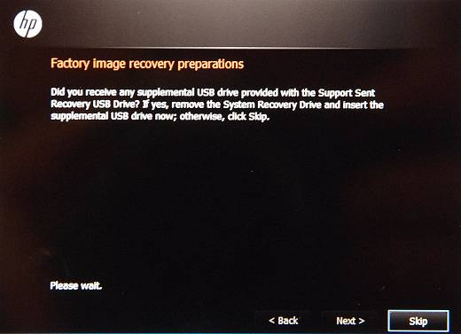 Factory image recovery preparations screen with the Skip button selected.