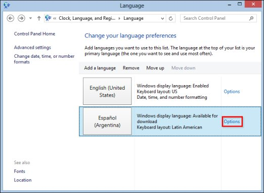 Image of Language window with  Options selected