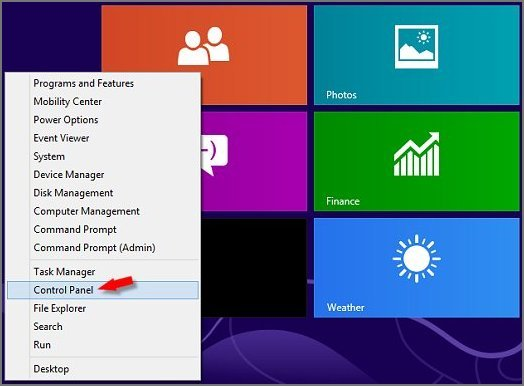 Image of the Control Panel in Win 8