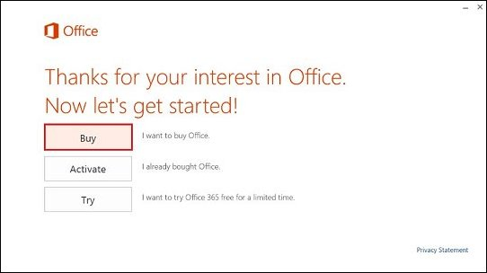 Office selection screen
