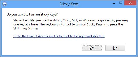 The warning message that appears when the  Sticky Keys feature is turned on