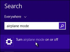The search results for airplane mode, with Turn airplane mode on or off selected