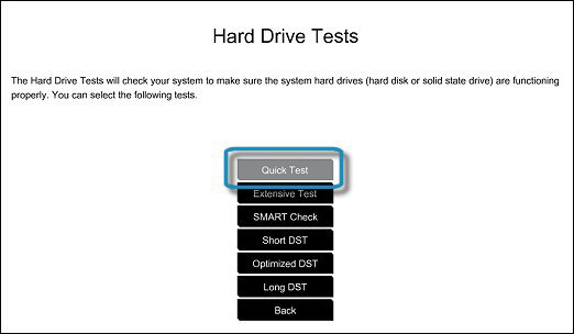 Running the Hard Drive Quick Test