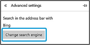 Clicking Change search engine