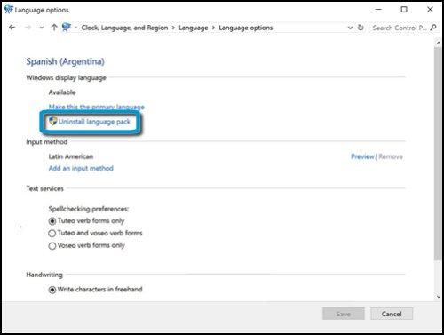 Opciones de idioma con Desinstalar paquete de idiomas resaltado
