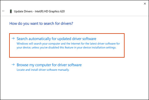 Search automatically for updated driver software for the graphics card